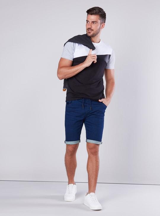 Slim Fit Plain Mid Waist Denim Shorts with Elasticised Waistband