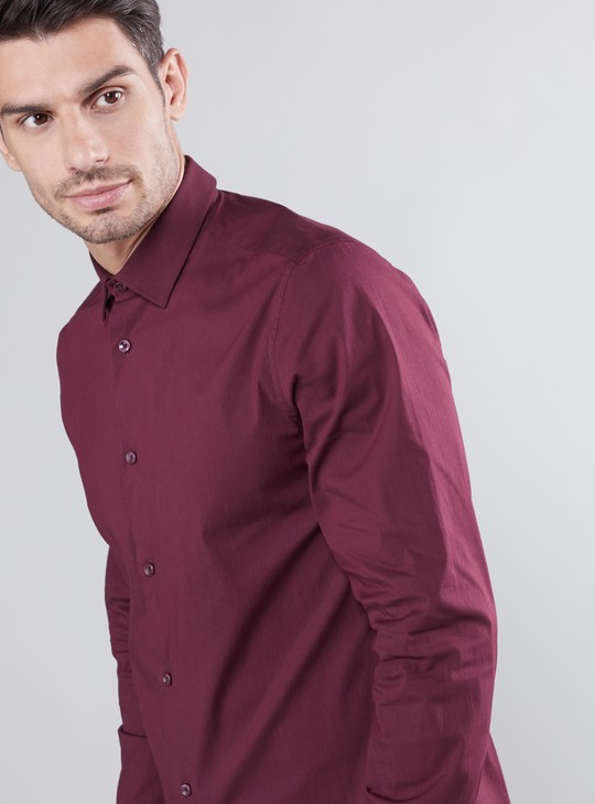 Slim Fit Plain Formal Shirt with Spread Collar and Long Sleeves