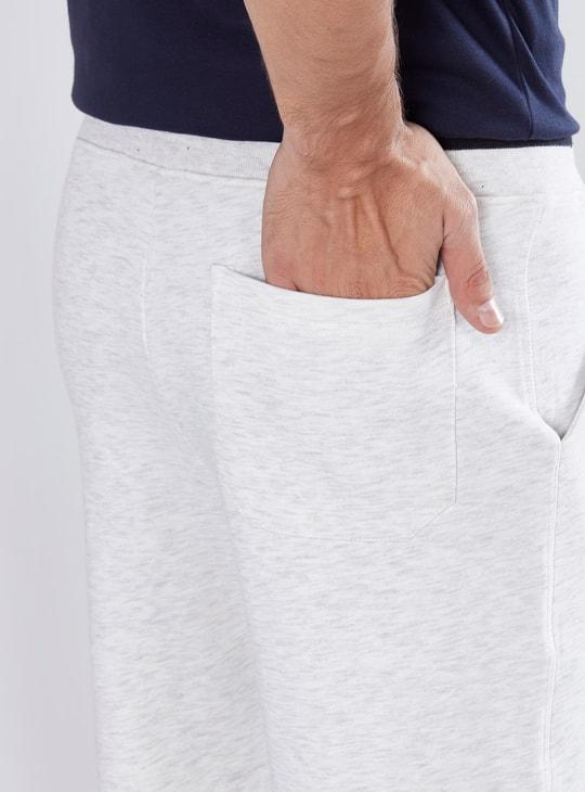 Melange Shorts with Elasticised Waistband and Drawstring