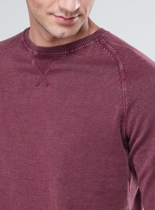 Textured Sweater with Ribbed Hems
