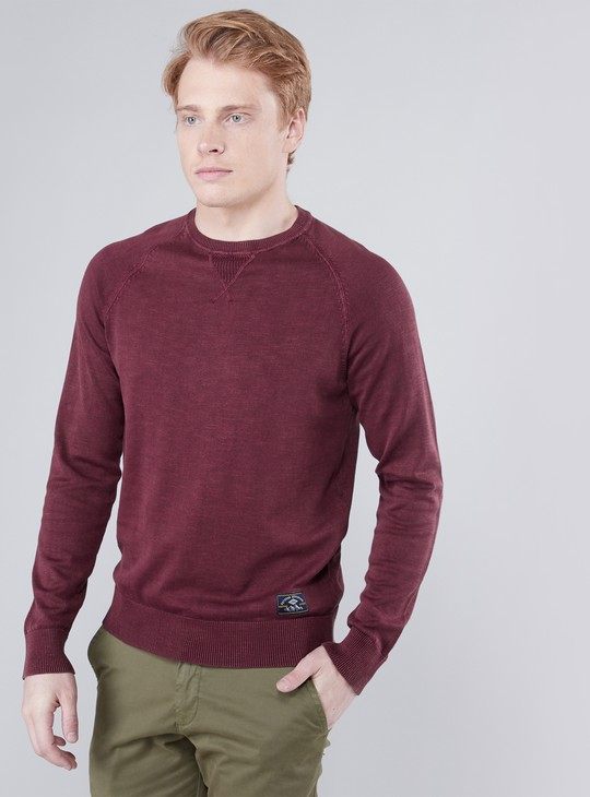 Textured Sweater with Round Neck and Raglan Sleeves