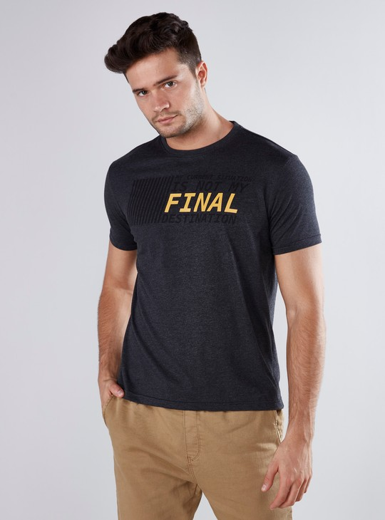 Slogan Printed T-shirt with Round Neck and Short Sleeves