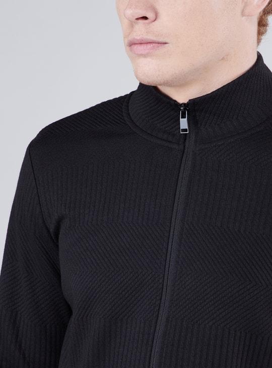 Textured Sweatshirt with Long Sleeves and Zip Closure