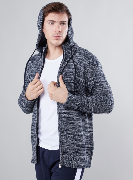 Textured Long Sleeves Sweater with Zip Closure and Hood
