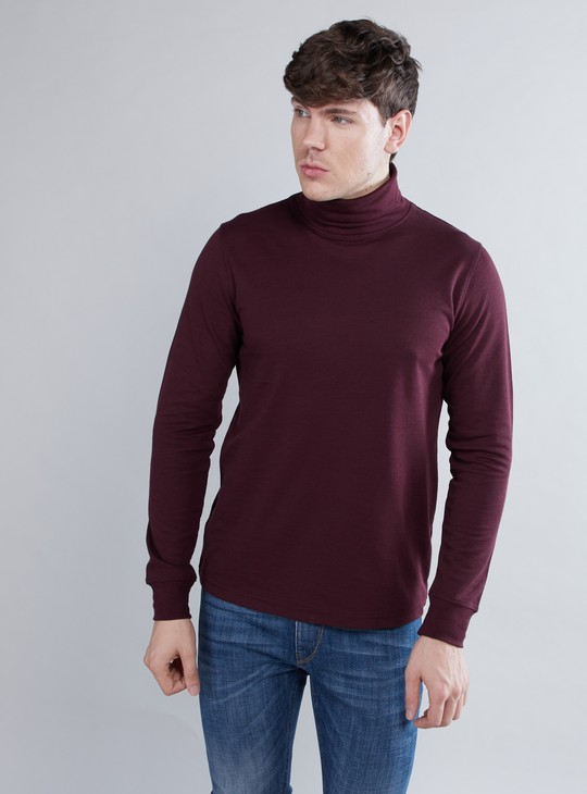 Textured Turtle Neck T-shirt with Long Sleeves