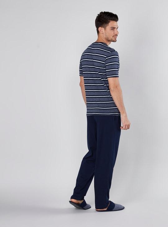 Striped Round Neck T-shirt and Pyjamas Set