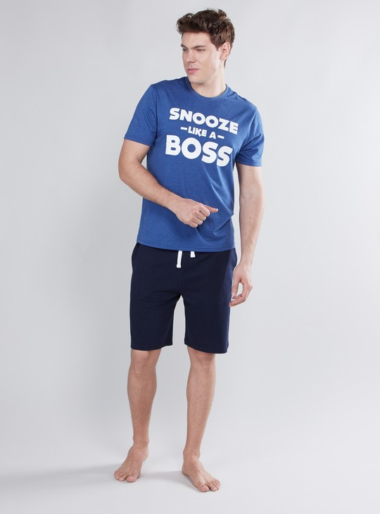 Printed T-shirt and Shorts with Drawstring Closure