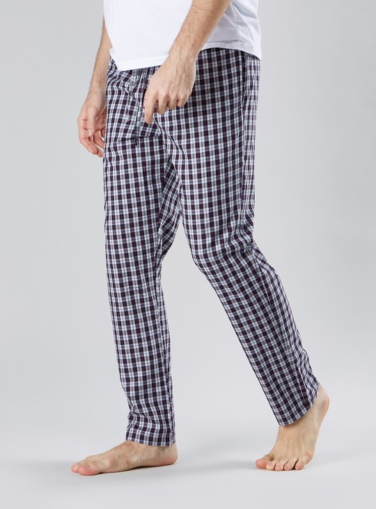 Full Length Chequered Pyjamas with Pocket Detail