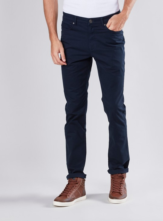 Slim Fit Full Length Pants with Pocket Detail and Belt Loops