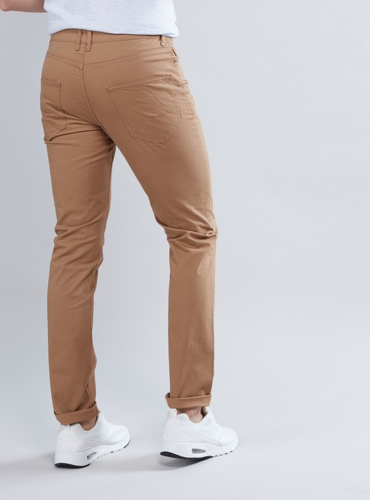 Slim Fit Chinos with 5-Pockets and Button Closure
