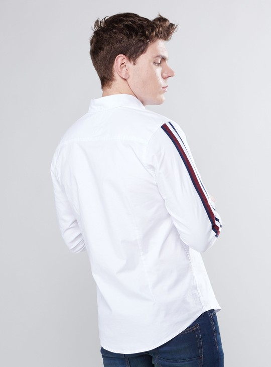 Button Through Shirt with Long Sleeves and Tape Detail