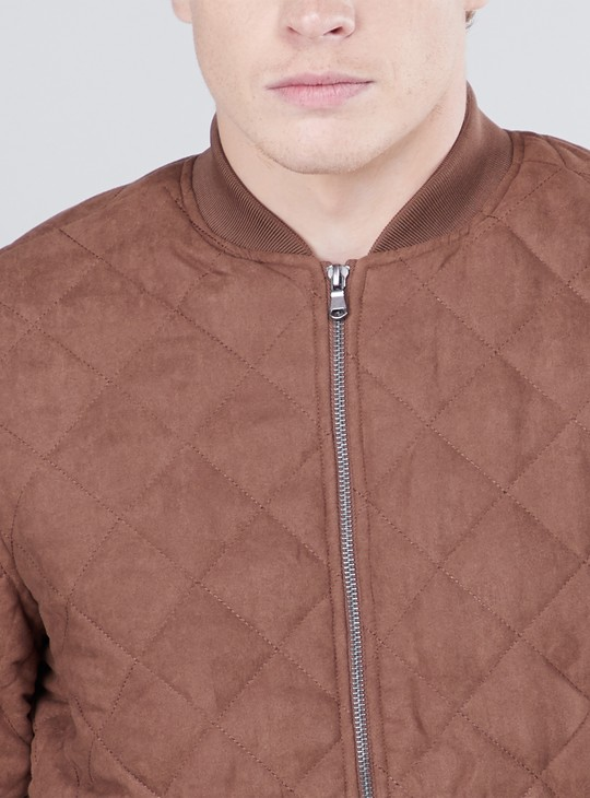 Quilted Zip Front Bomber Jacket with Long Sleeves
