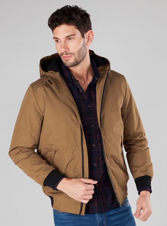 Hooded Jacket with Long Sleeves and Pocket Detail