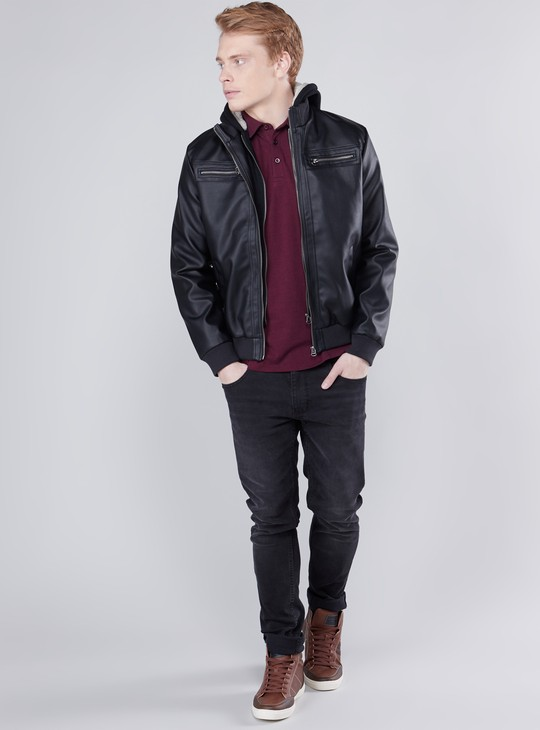 Plain Bomber Jacket with Long Sleeves and Hood