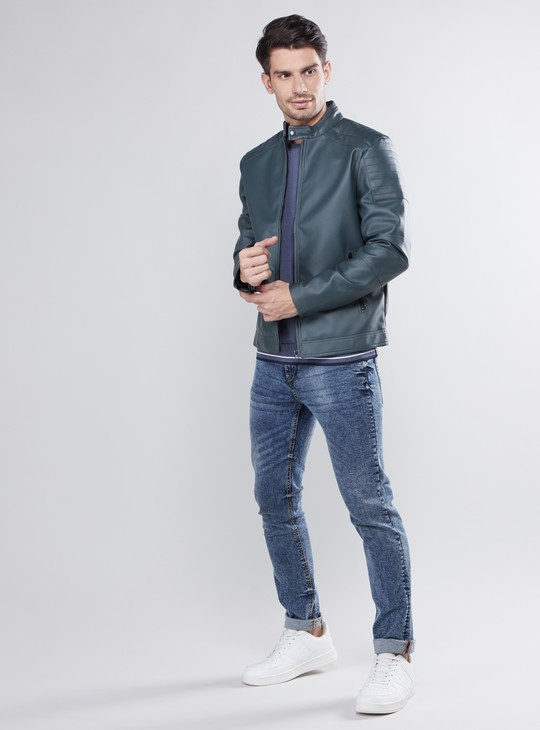 Solid Biker Jacket with Long Sleeves