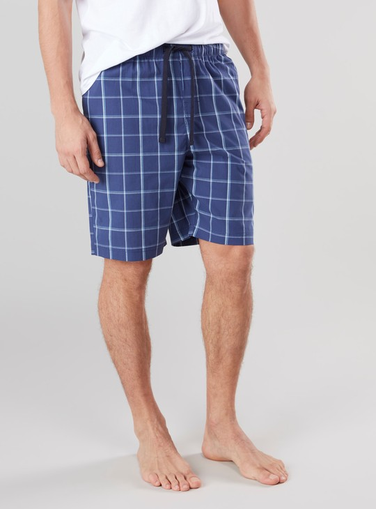 Chequered Shorts with Pocket Detail and Elasticised Waistband