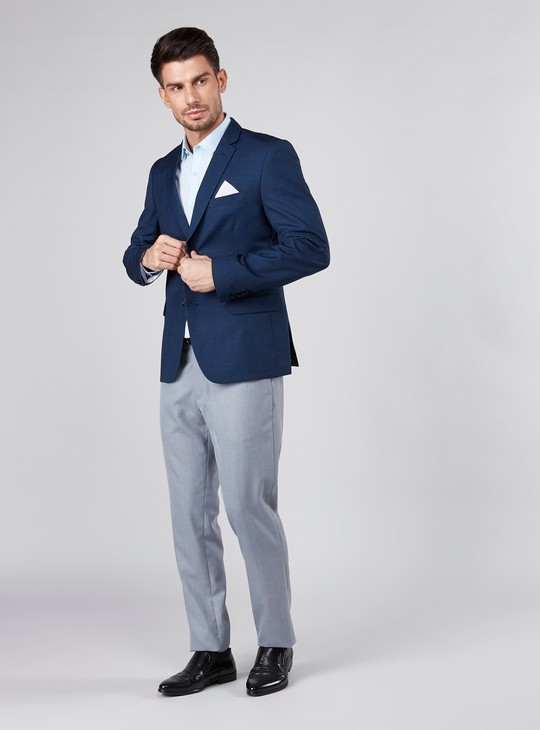 Textured Formal Jacket with Long Sleeves and Button Closure