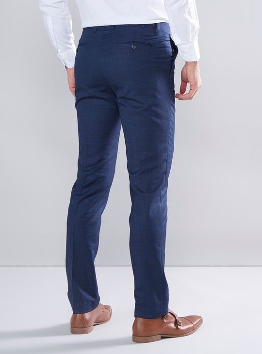 Slim Fit Textured Pants with Belt Loops and Pocket Detail