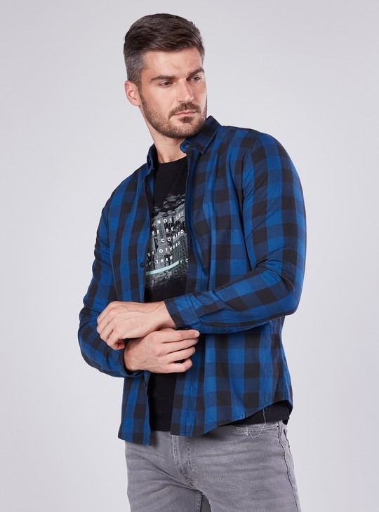 Slim Fit Chequered Shirt with Spread Collar and Long Sleeves