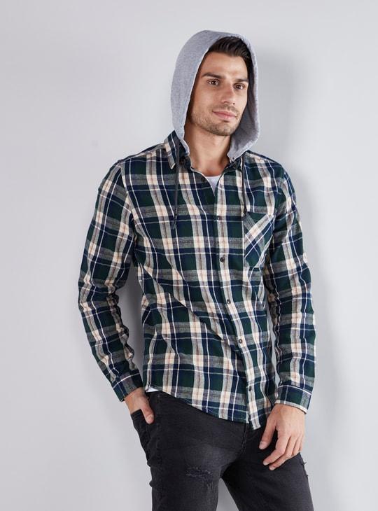 قميص كاروهات بأكمام طويلة و قبعة