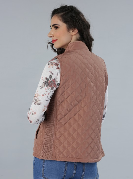 Quilted Sleeveless Jacket with Zippered Front