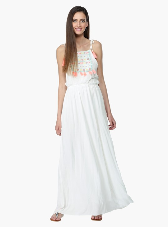 Embroidered Maxi Dress with Tie Up Shoulder