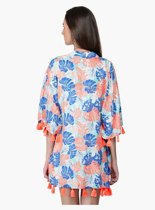 Printed Open Front Kimono with Tassels