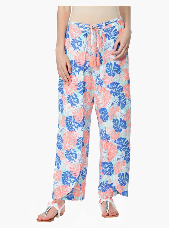 Printed Palazzo Pants with Tie Up