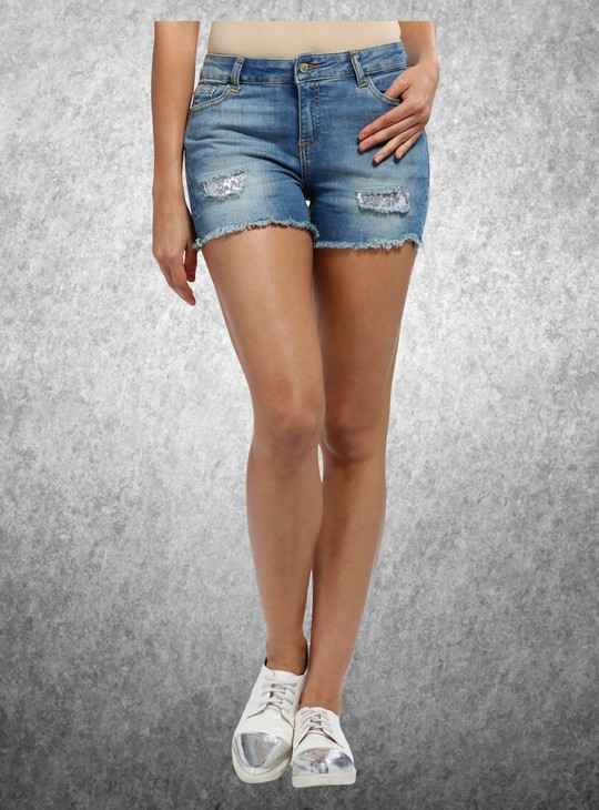 Skinny Fit Denim Shorts with Sequin Patch