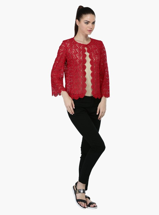 Long Sleeves Lace Shrug with Button Closure