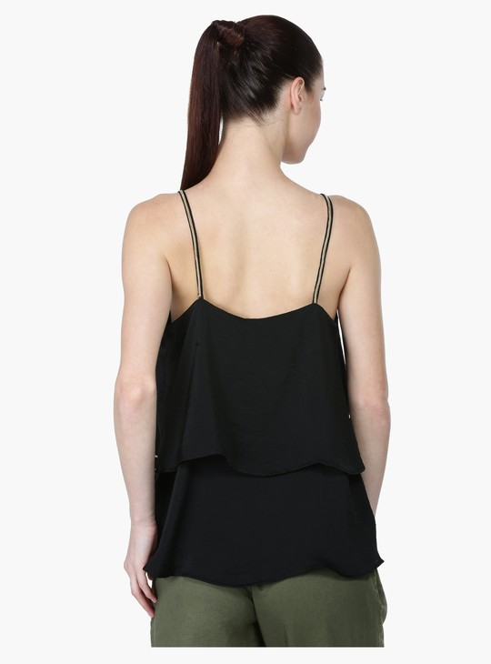 Sleeveless Spaghetti Top with Layer