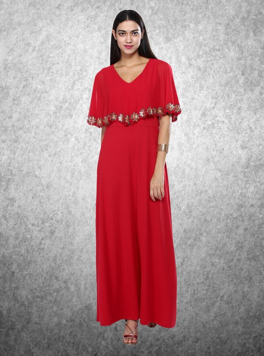 Embellished V-Neck Maxi Dress