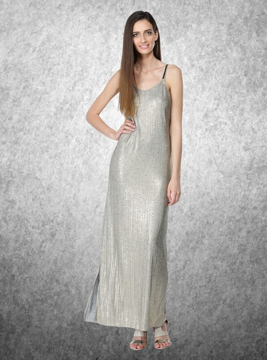 Textured Maxi Dress with Slits and Spaghetti Straps