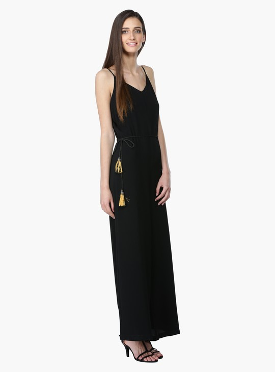 Maxi Jumpsuit with Spaghetti Straps and V-Neck