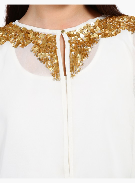 Embroidered Shrug with High-Low Hem