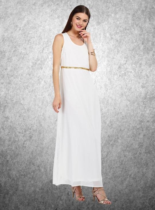 Sleeveless A-Line Maxi Dress with Embellished Waist