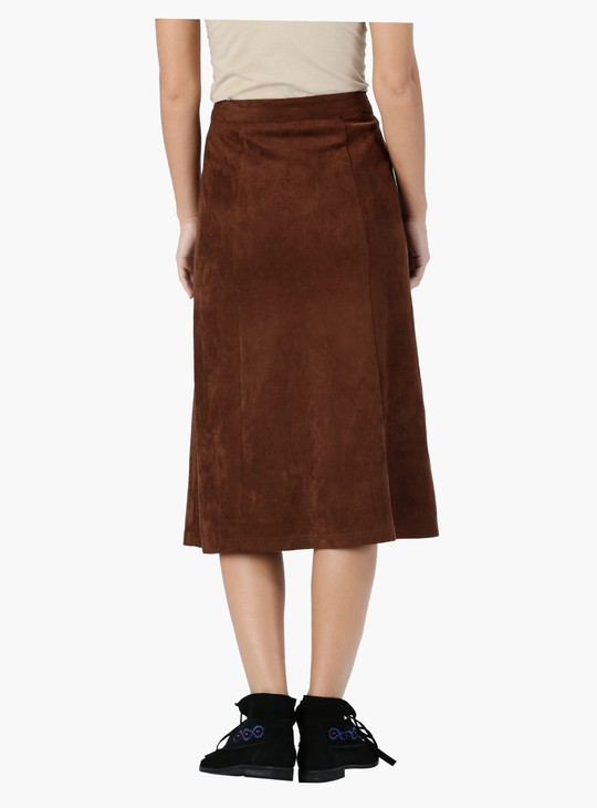 Button Down Front A-Line Midi Skirt