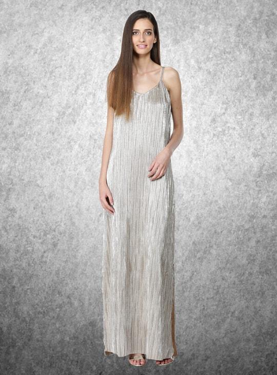 Spaghetti Straps Maxi Dress with Side Slit