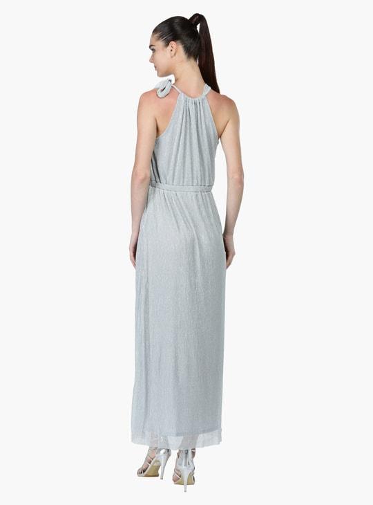 Textured A-Line Sleeveless Maxi Dress