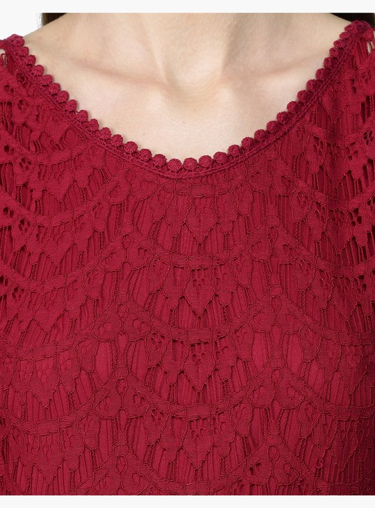 Short Sleeves Lace Maxi Dress