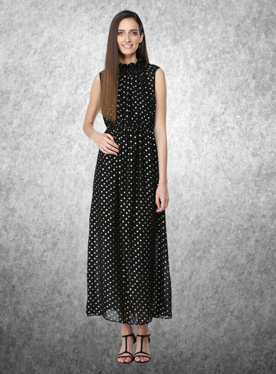 Polka Dot Printed Sleeveless Maxi Dress