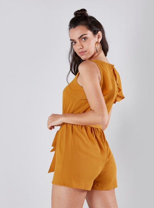 Sleeveless Playsuit with Boat Neck and Fabric Belt