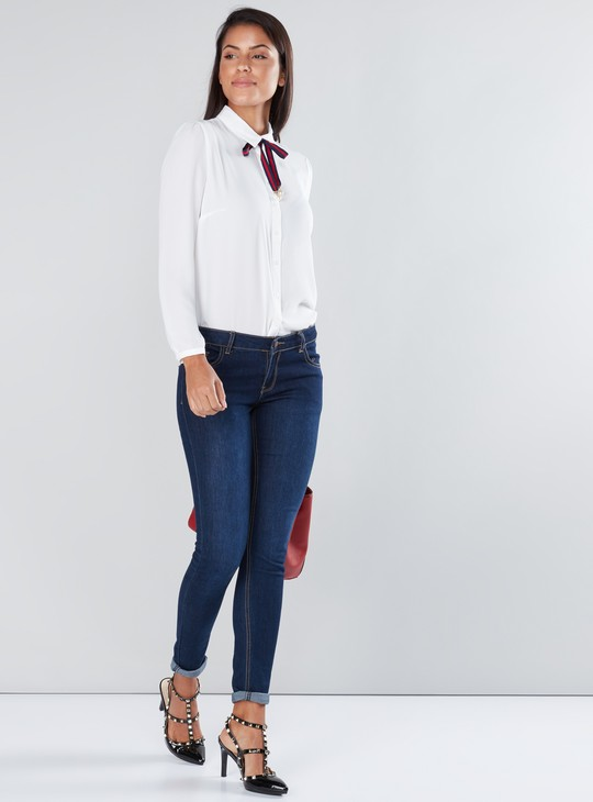Long Sleeves Shirt with Complete Placket and Tie Up Detail