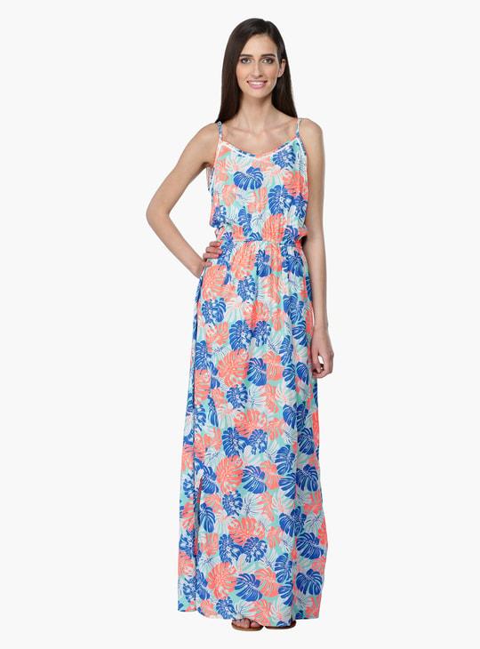 فستان طويل بنقش مطبوع مع شراشيب بأطوال قابلة للتعديل