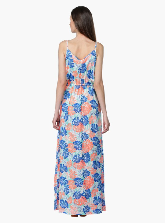 Printed Maxi Dress with Adjustable Straps