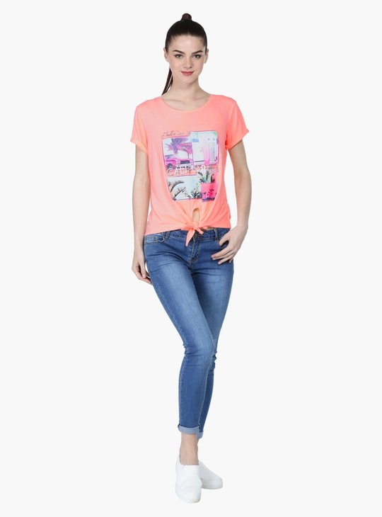 Printed Tie-Up T-Shirt with Round Neck and Short Sleeves