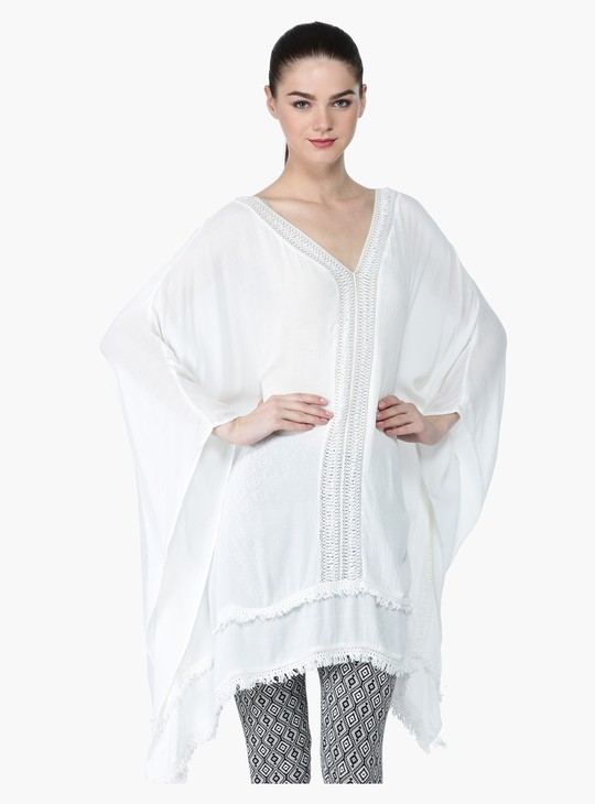 Kaftan Top with Fringes and Lace Detail