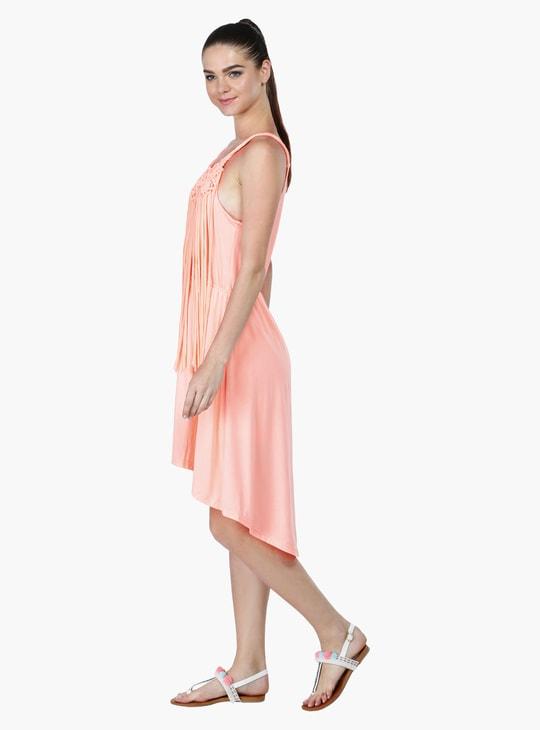 Sleeveless Dress with Fringes