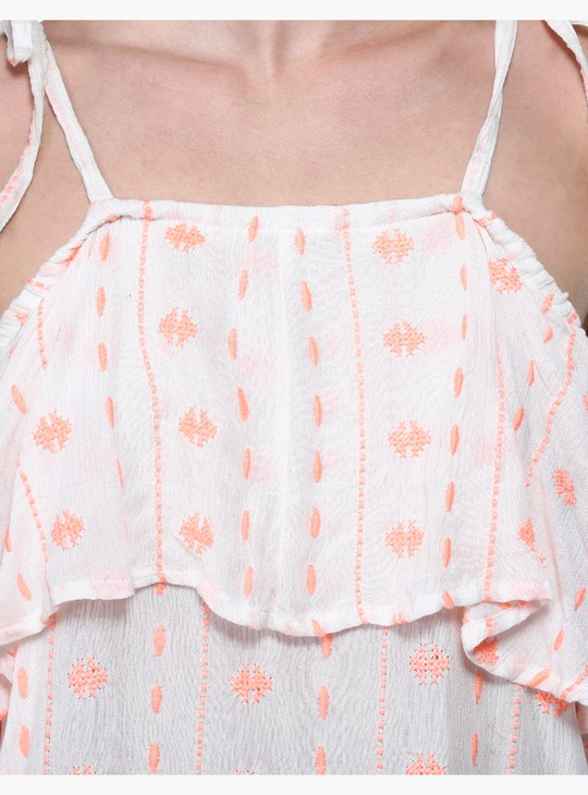 Embroidered Ruffle Yoke Top with Shoulder Tie Ups