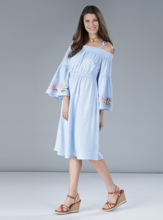 Embroidered Dress with Cold Shoulder